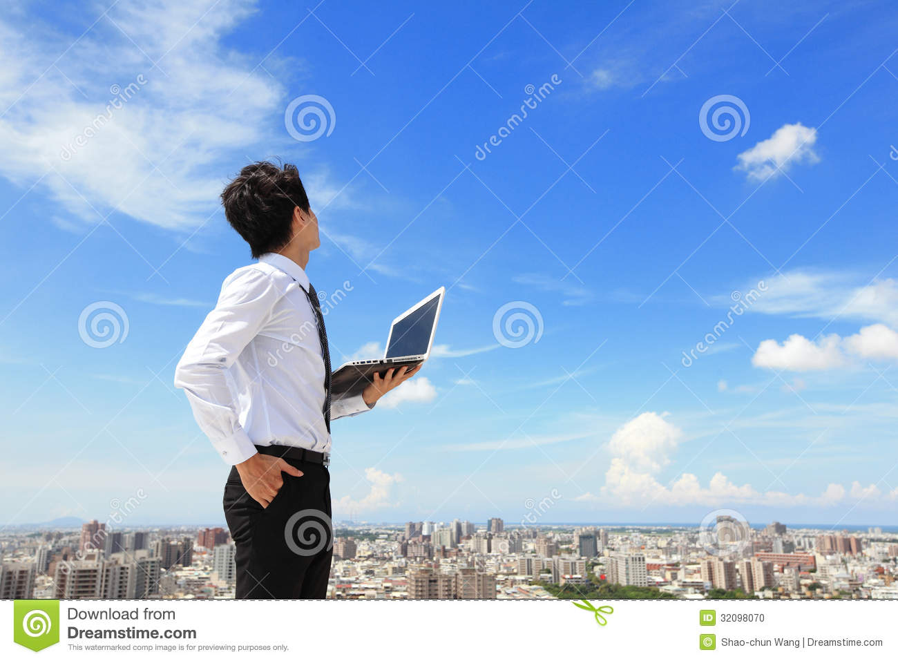 Business man with laptop and look sky and cloud