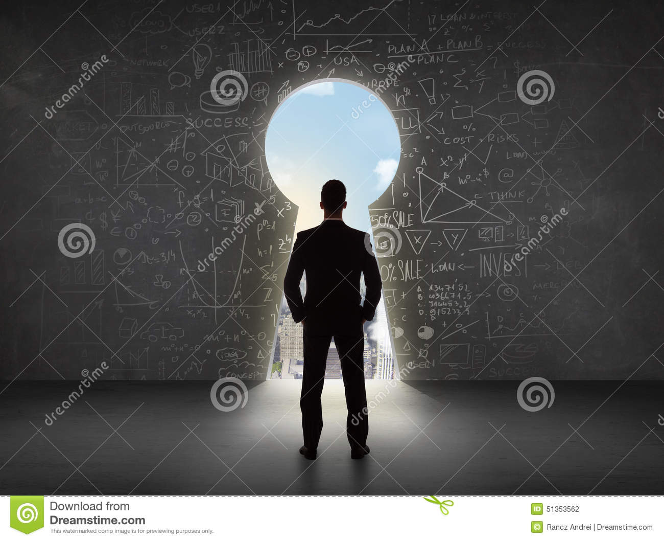 Business man looking at keyhole with bright cityscape concept