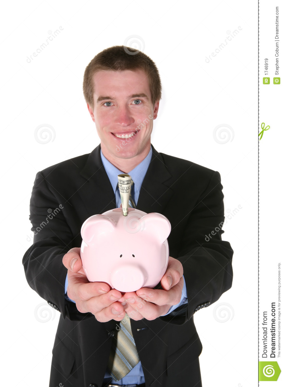 Download Business Man With Money (Focus On Piggy Bank) Stock Image - Image of grow, account: 1746919
