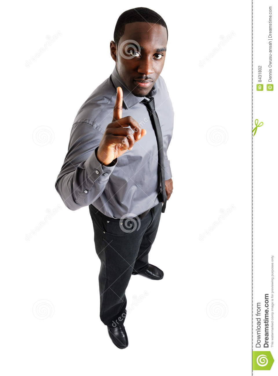 Business Man With One Finger Up Stock Photo