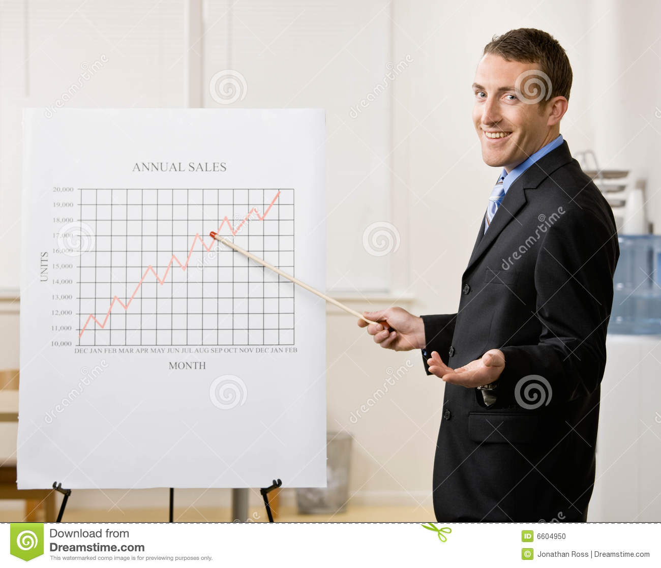 Business man points to sales graph