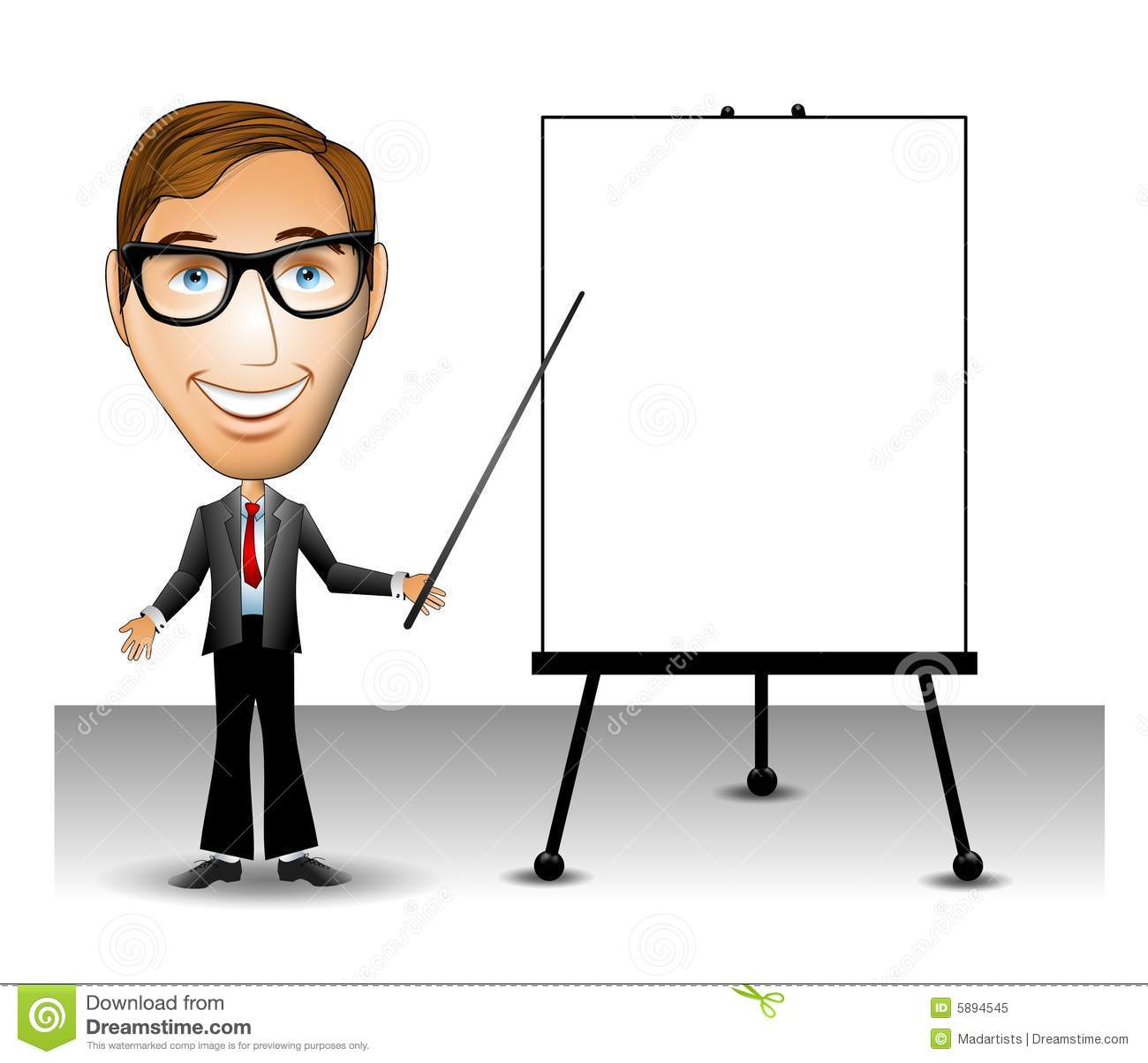 clip art illustration of a man holding a pointer in front of a blank ...
