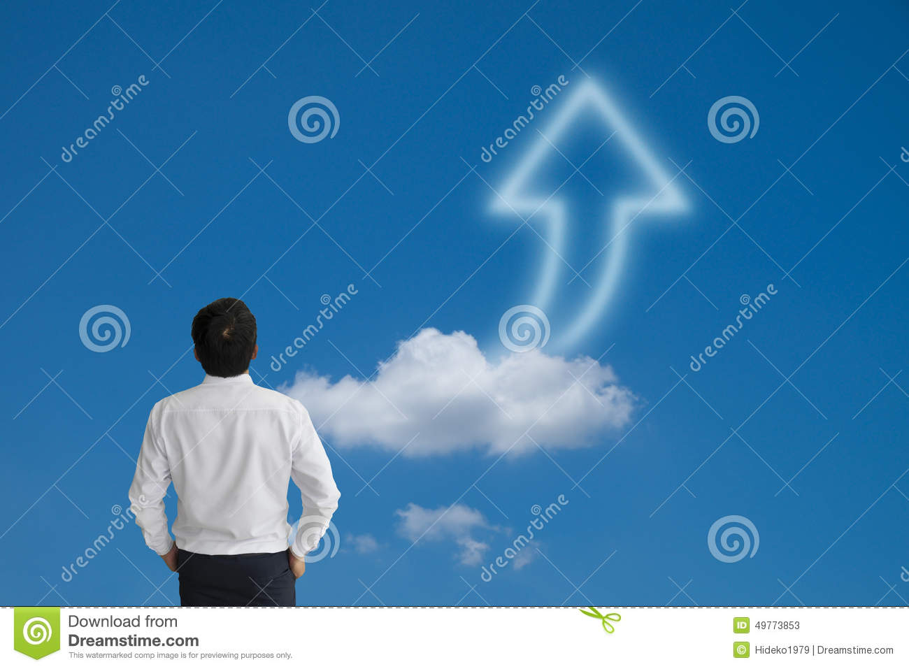 Business man purposefully looking away with arrow cloud and blue