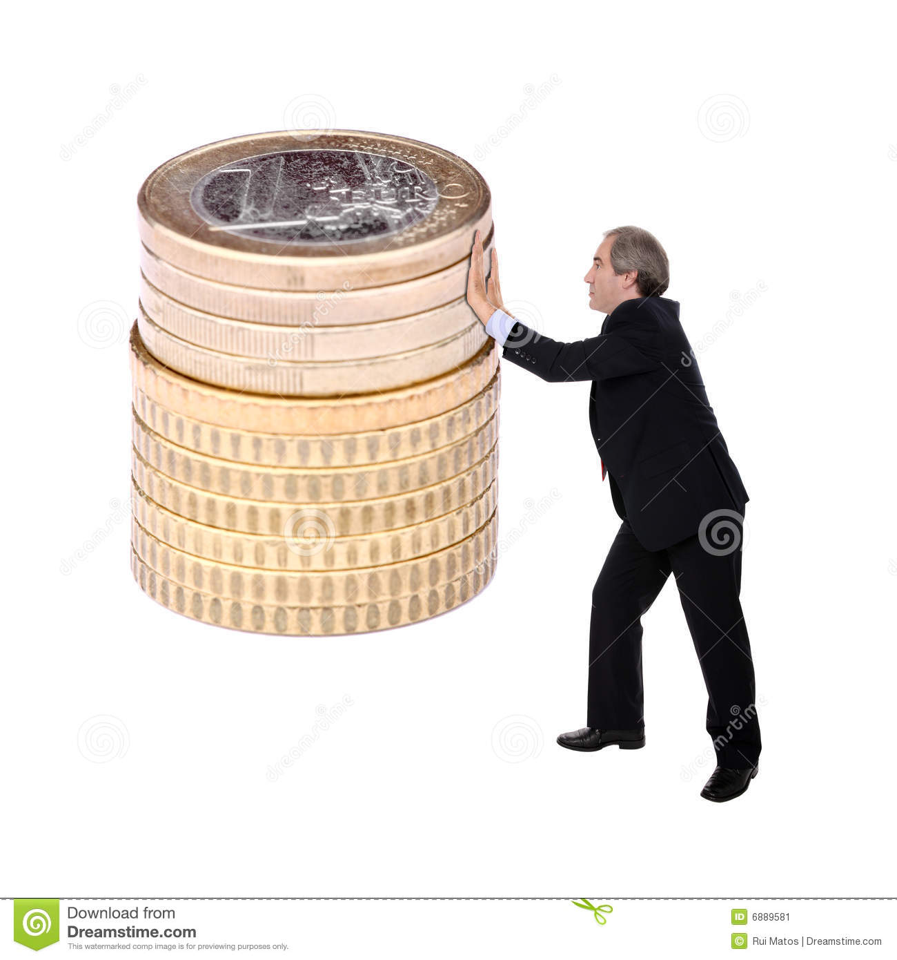 Business man pushing a pile of euro coins