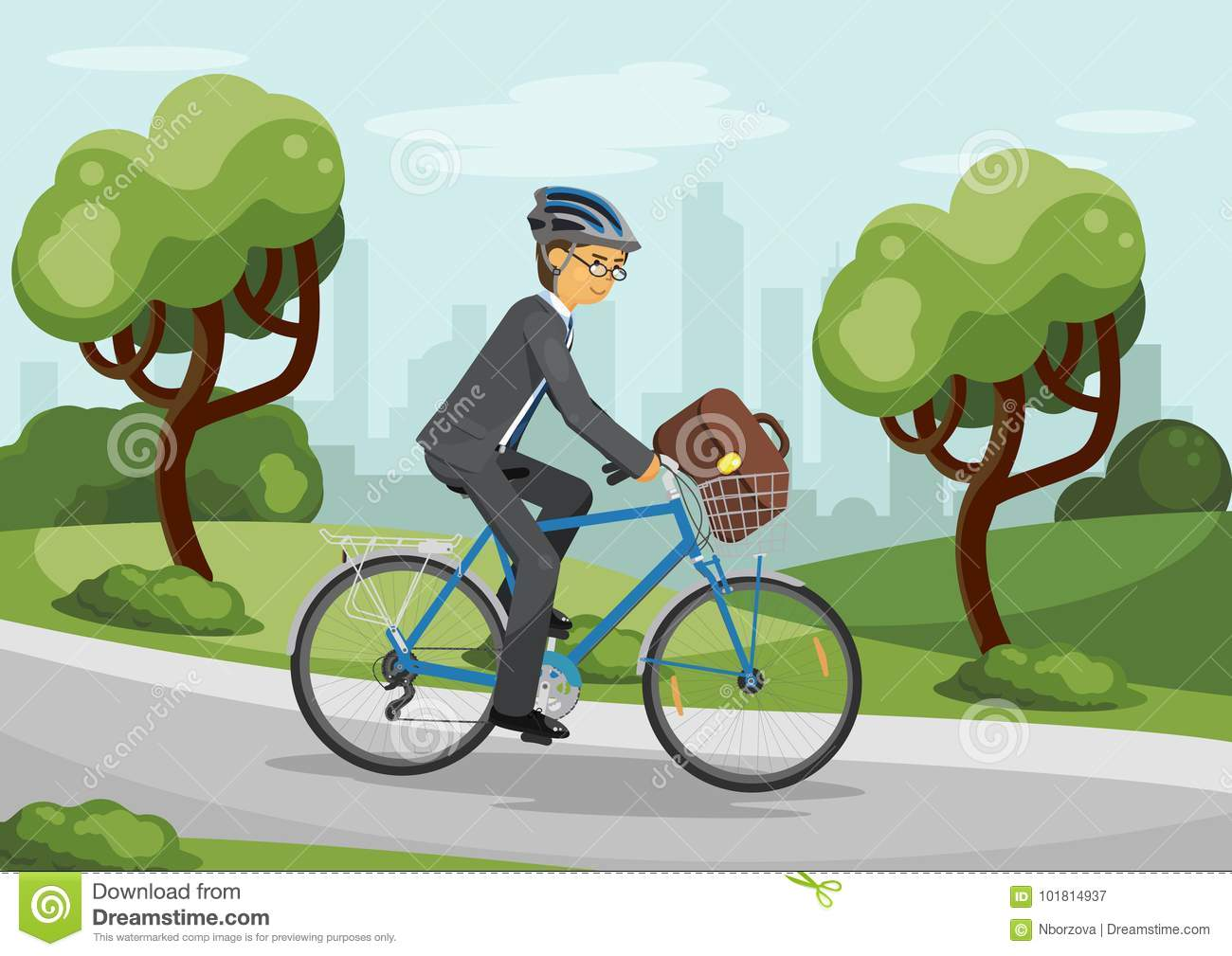 Business Man Riding Bike In Helmet Stock Vector Illustration Of Briefcase People 101814937