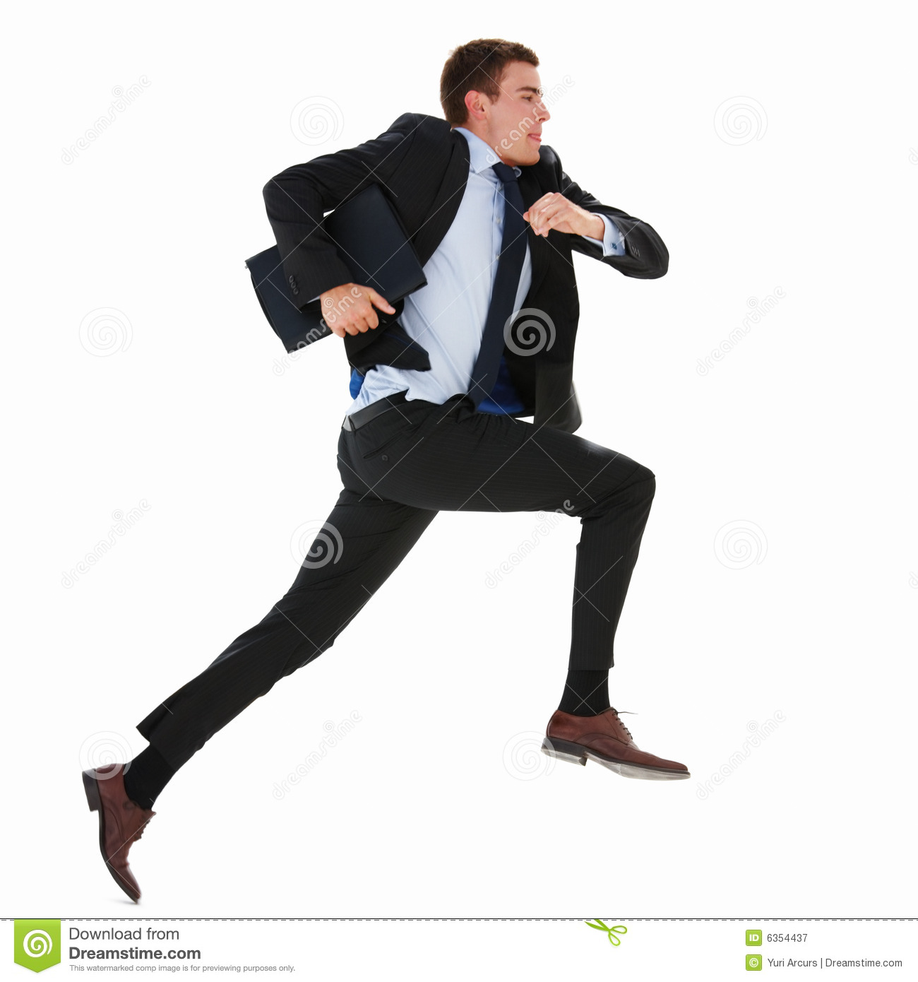Royalty free stock photography business man running on isolated white