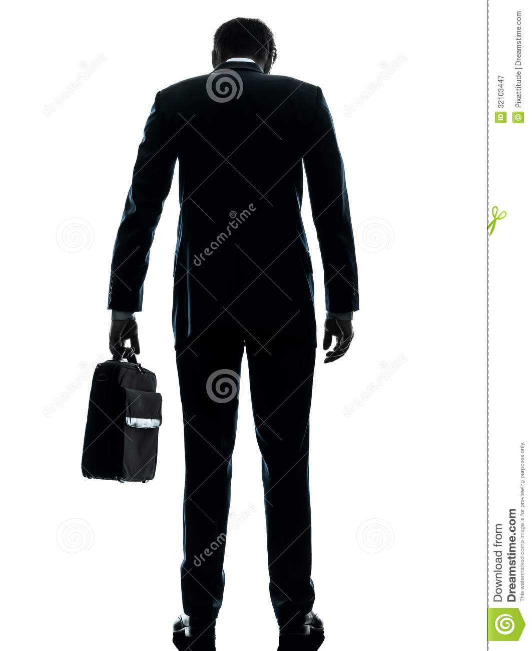 Business Man Sad Standing Rear View Silhouette Stock Image
