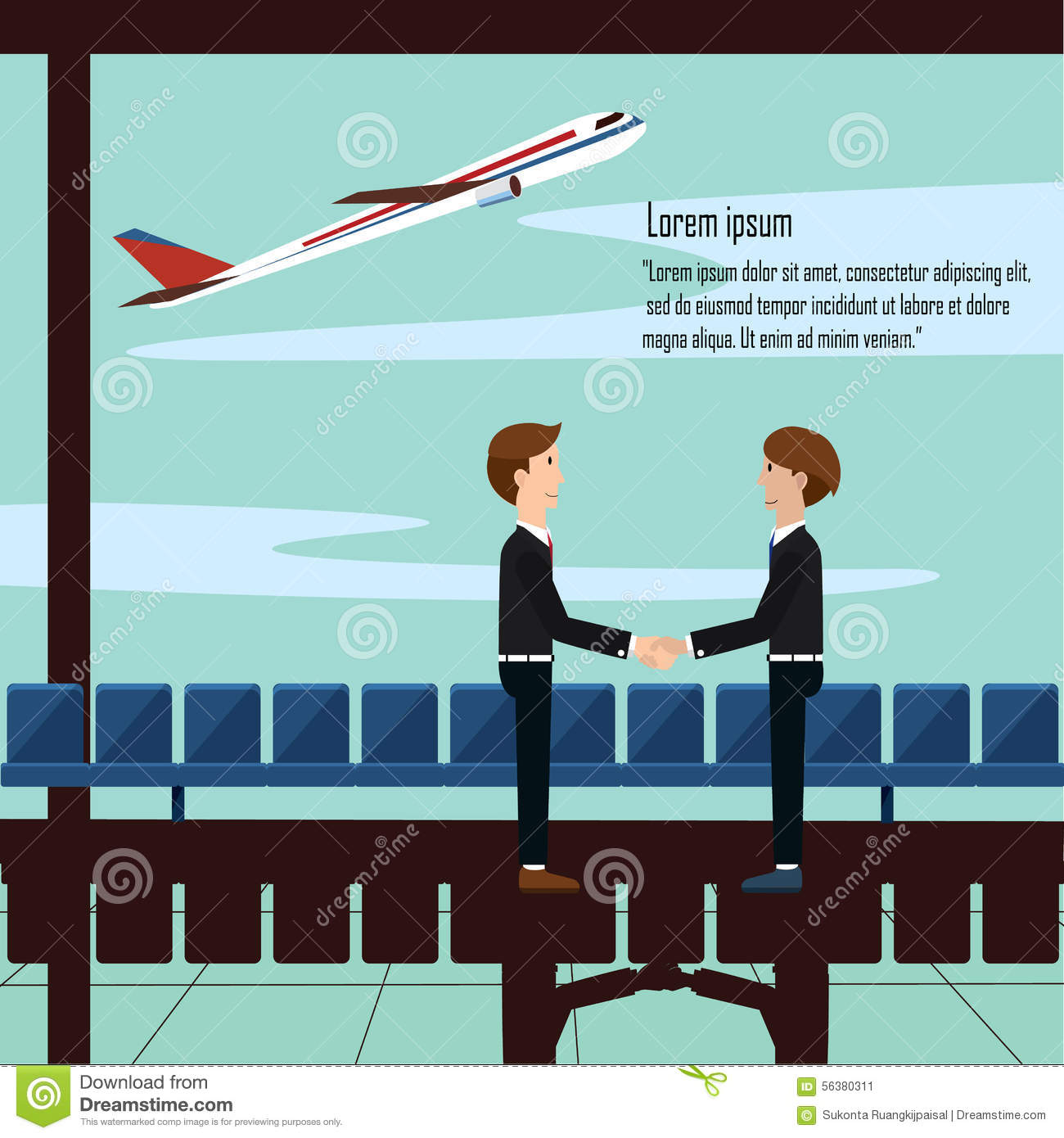 Business Man Shake Hand Greet Partners Airport With Airplane And