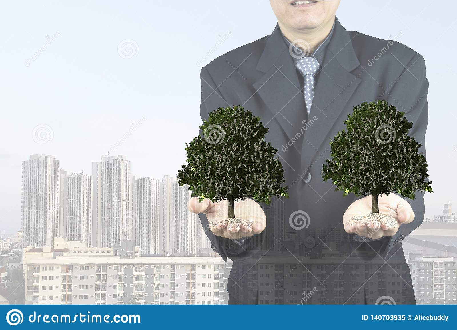 Business Man Show Money Tree In His Hand Stock Illustration Illustration Of Holding Euro 140703935