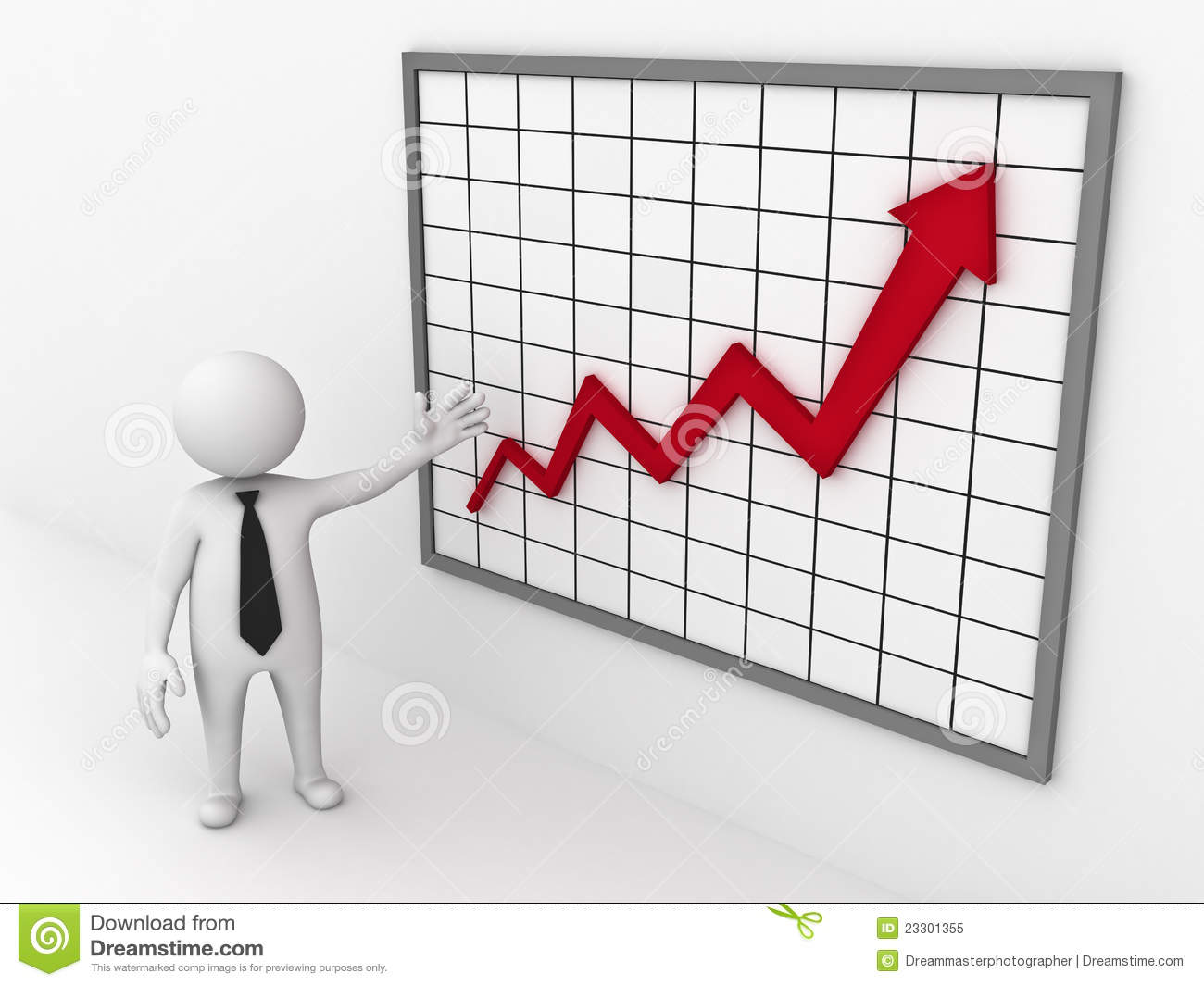 Business Man Showing Growth Graph Chart Stock Illustration