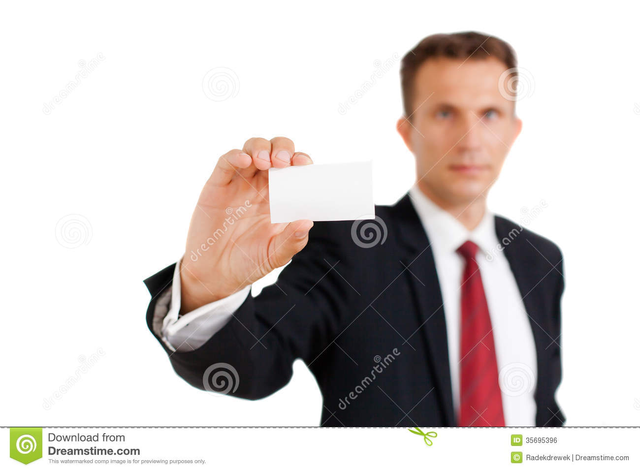 Business Man Showing His Business Card Stock Photo - Image of card ...