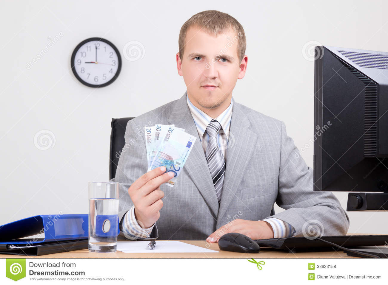 Business Man Showing Money In Bright Office Royalty Free ...