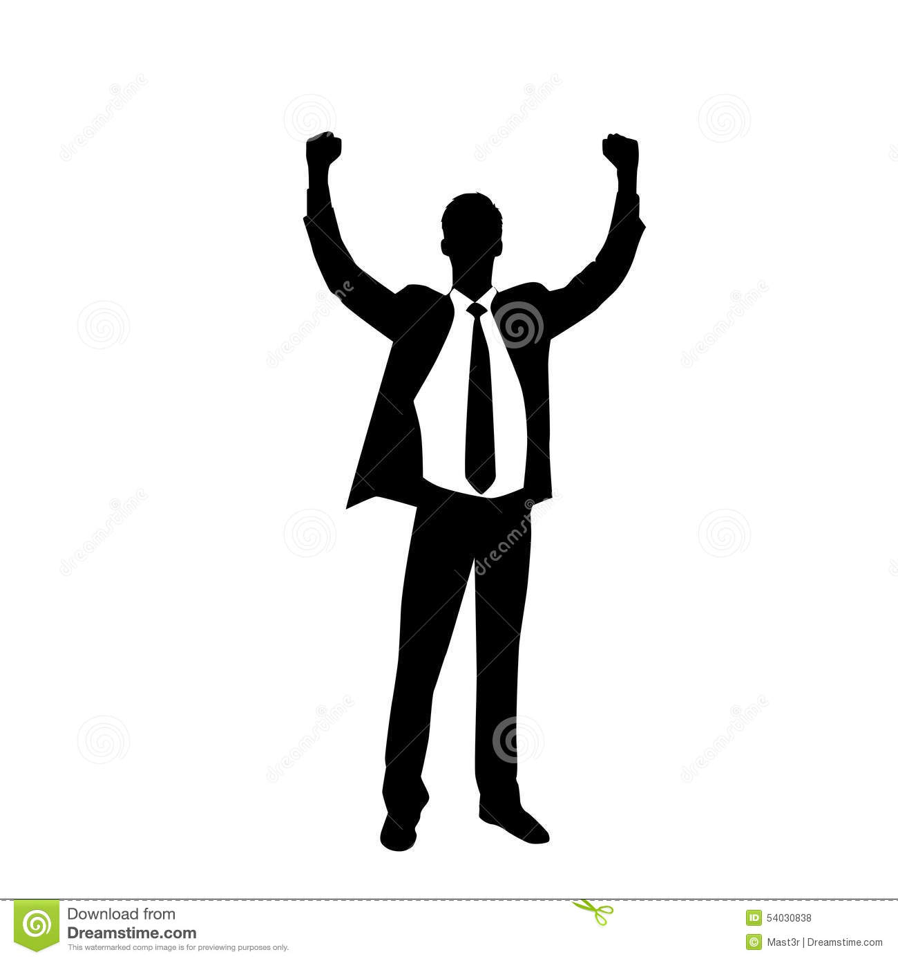 Business Man Silhouette Excited Hold Hands Up Stock Vector