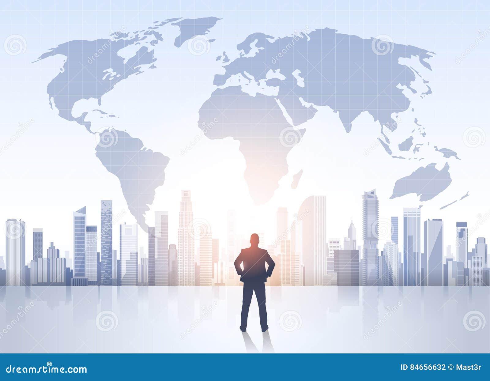 Business man silhouette over city landscape world map modern office business man silhouette over city landscape world map modern office buildings gumiabroncs Images