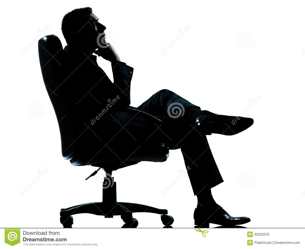 Business Man Sitting Armchair Relaxing Silhouette Stock