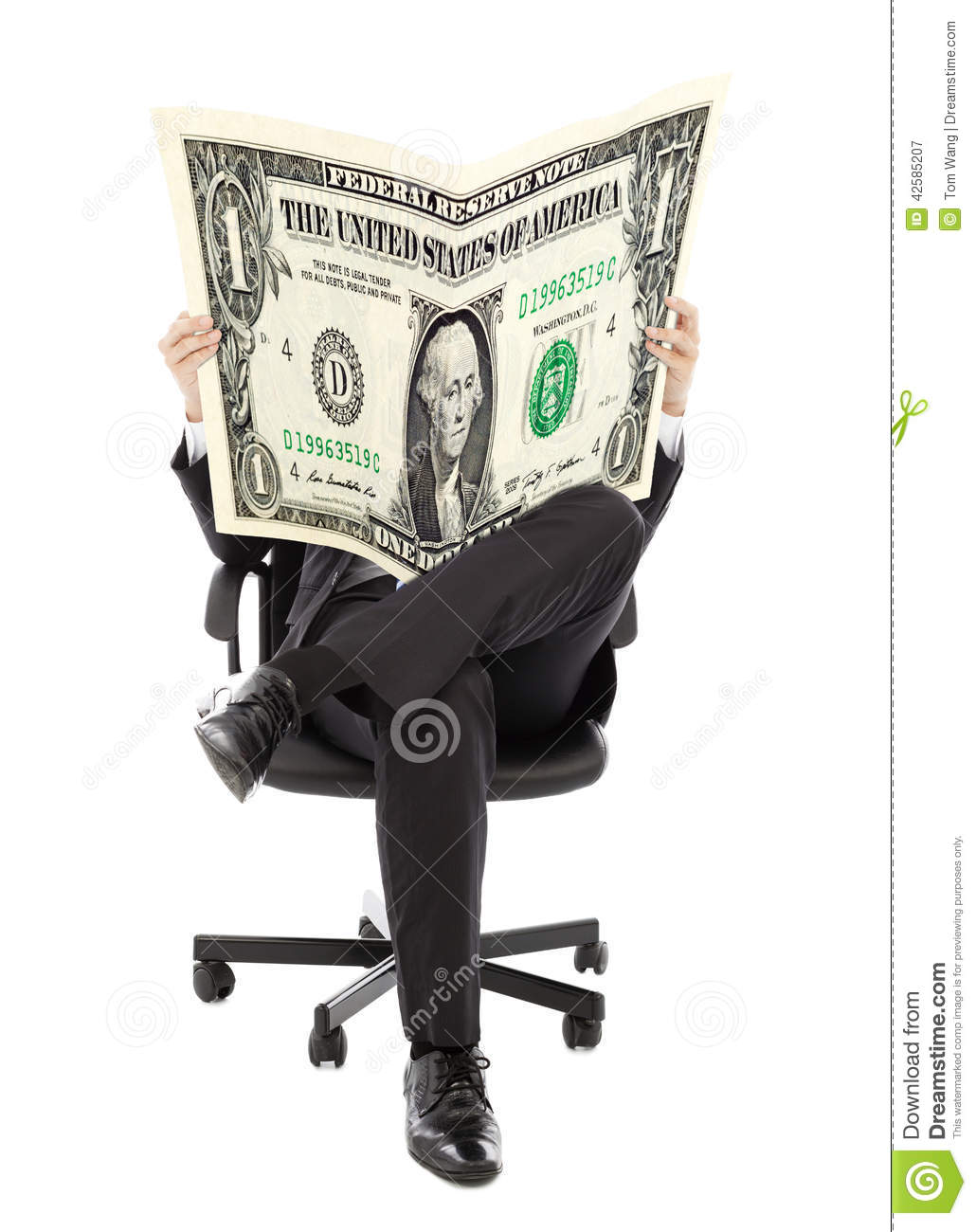 Business man sitting on a chair with American currency in hands