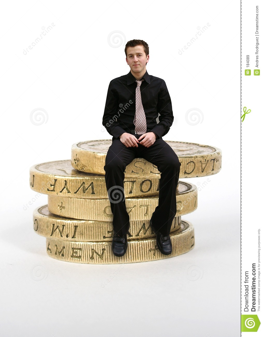 Business Man Sitting On Coins Stock Image Image Of