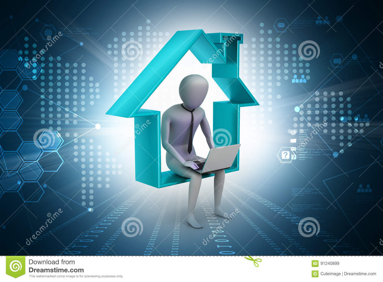 Business Man Sitting On The Symbol Of Home Stock Illustration