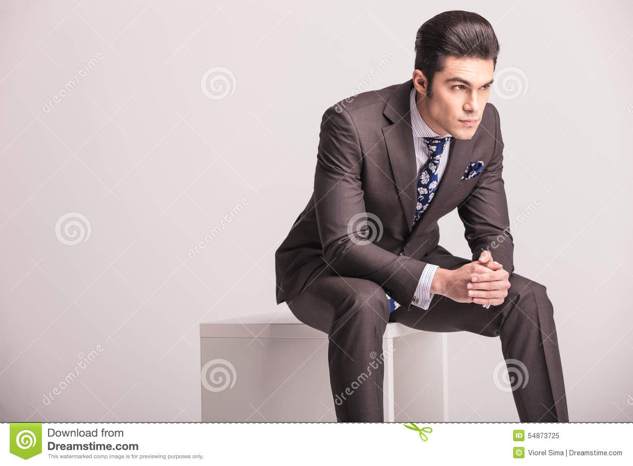 Man sitting in chair side - Business Chair Hands Handsome Man Modern Side Sitting