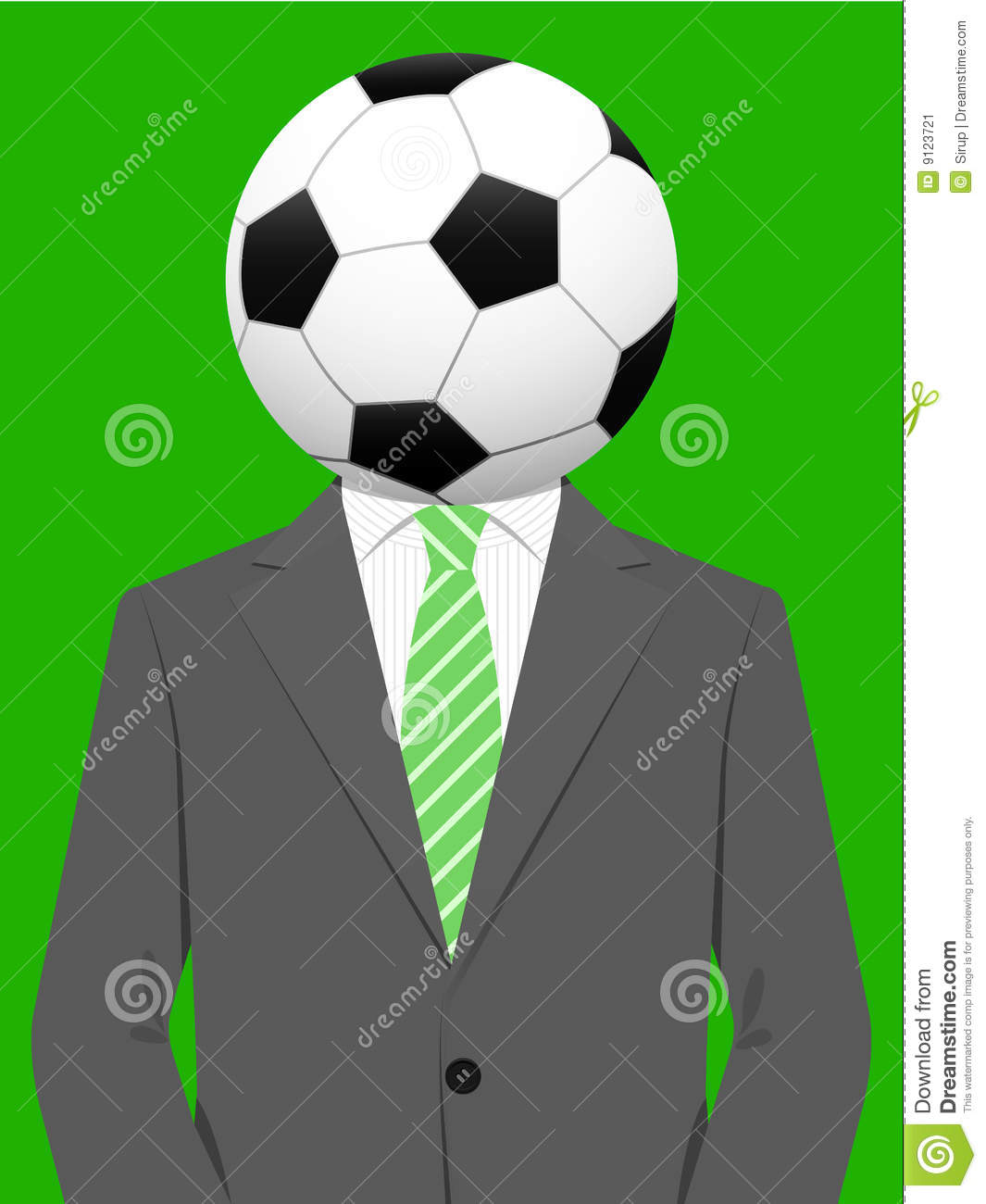 business man with soccer ball head stock vector