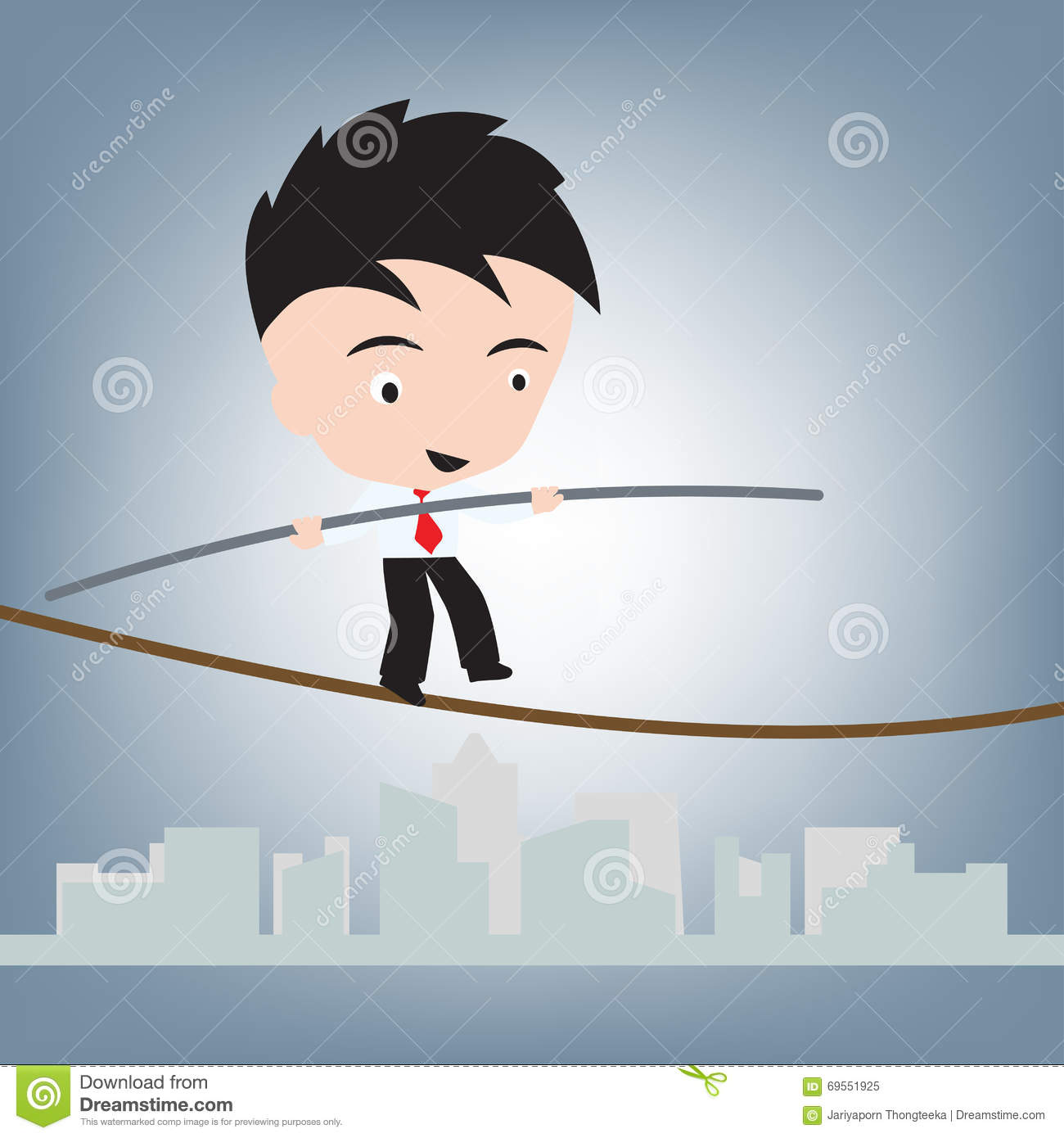Business Man Standing Balance On Wire Or Rope, Risk Management ...