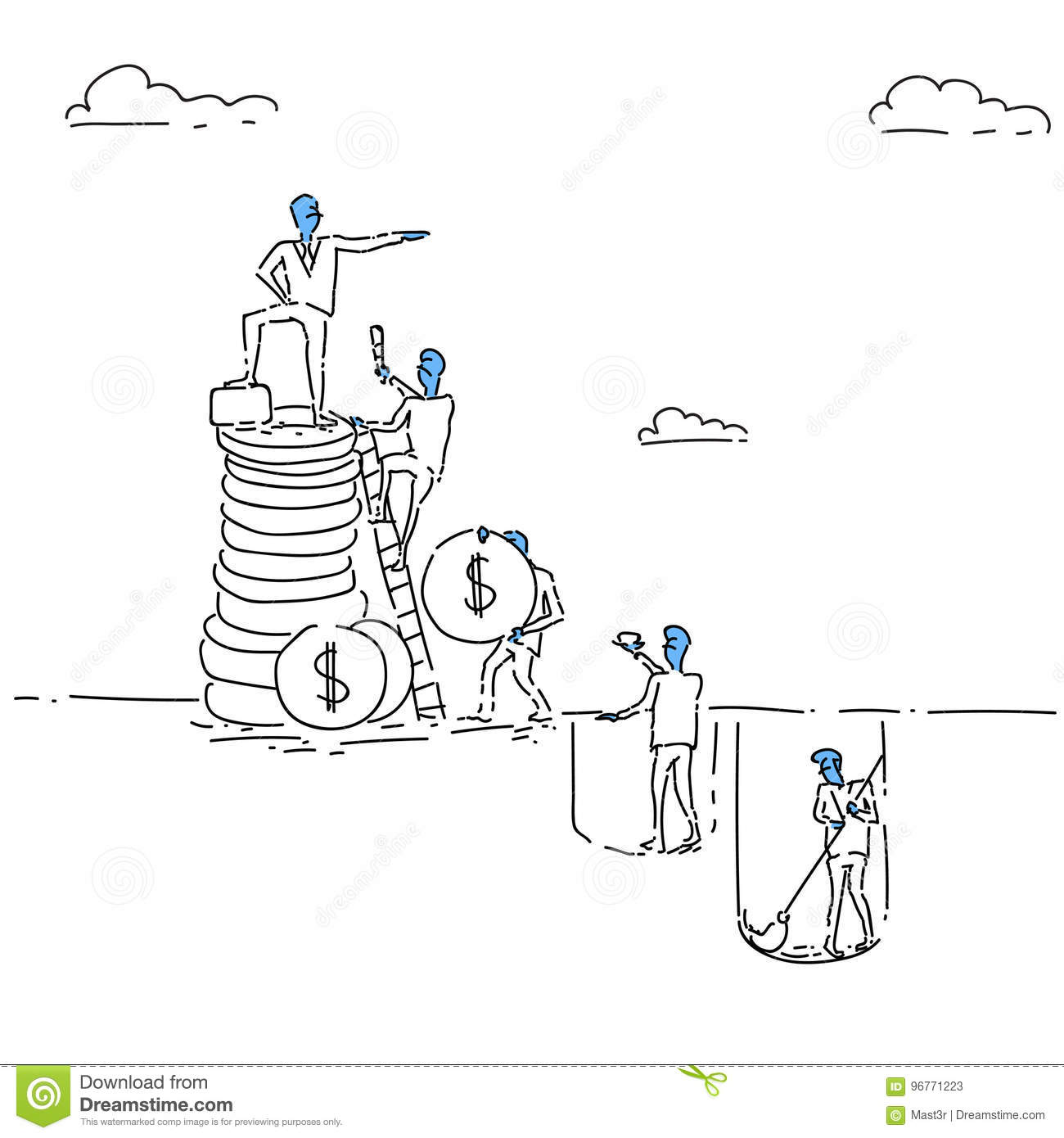 Business Man Standing On Coin Stack Career Development Opportunity Growth Concept Success