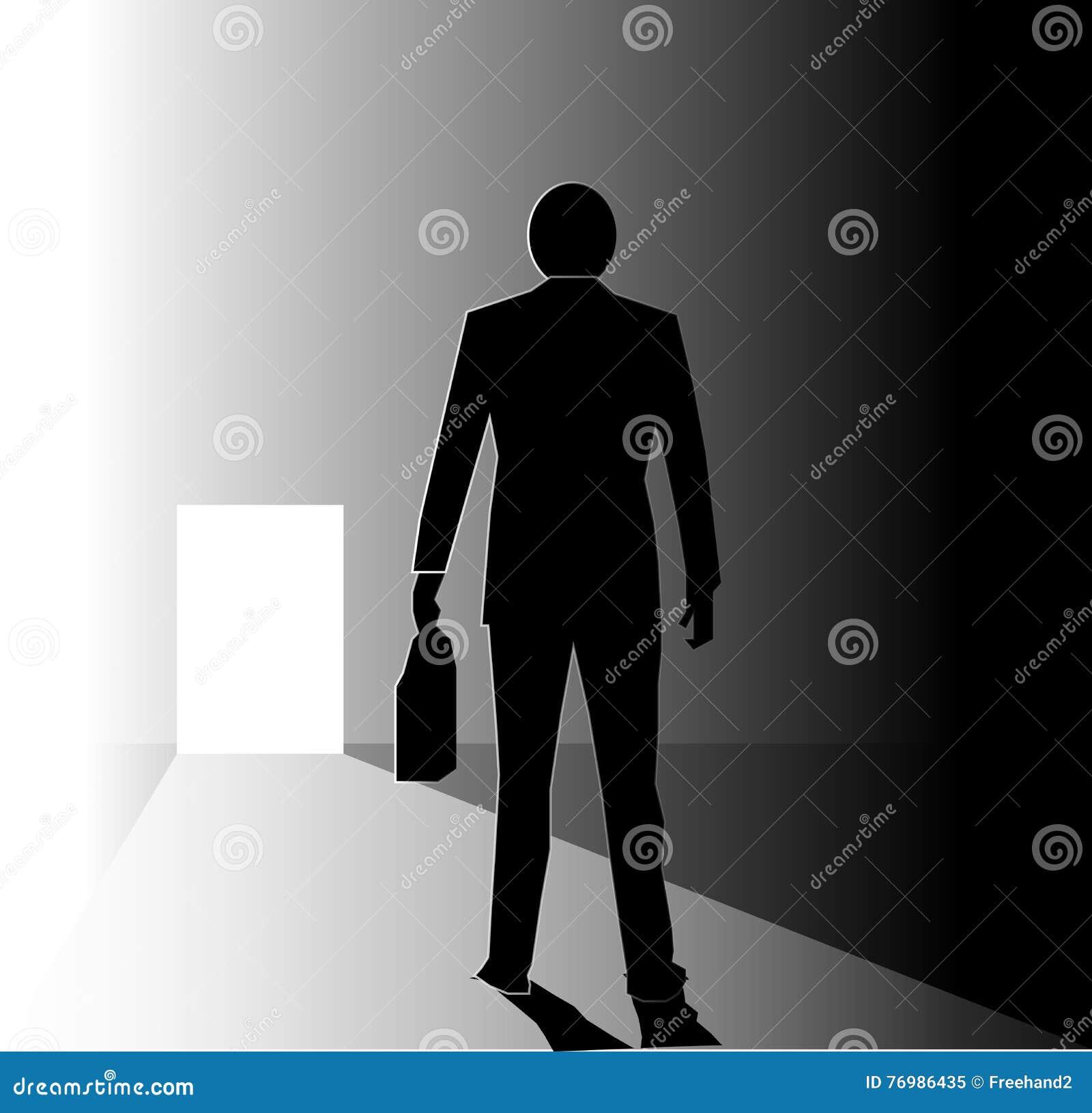SILHOUETTE Business Man Bright Door Stock Illustration