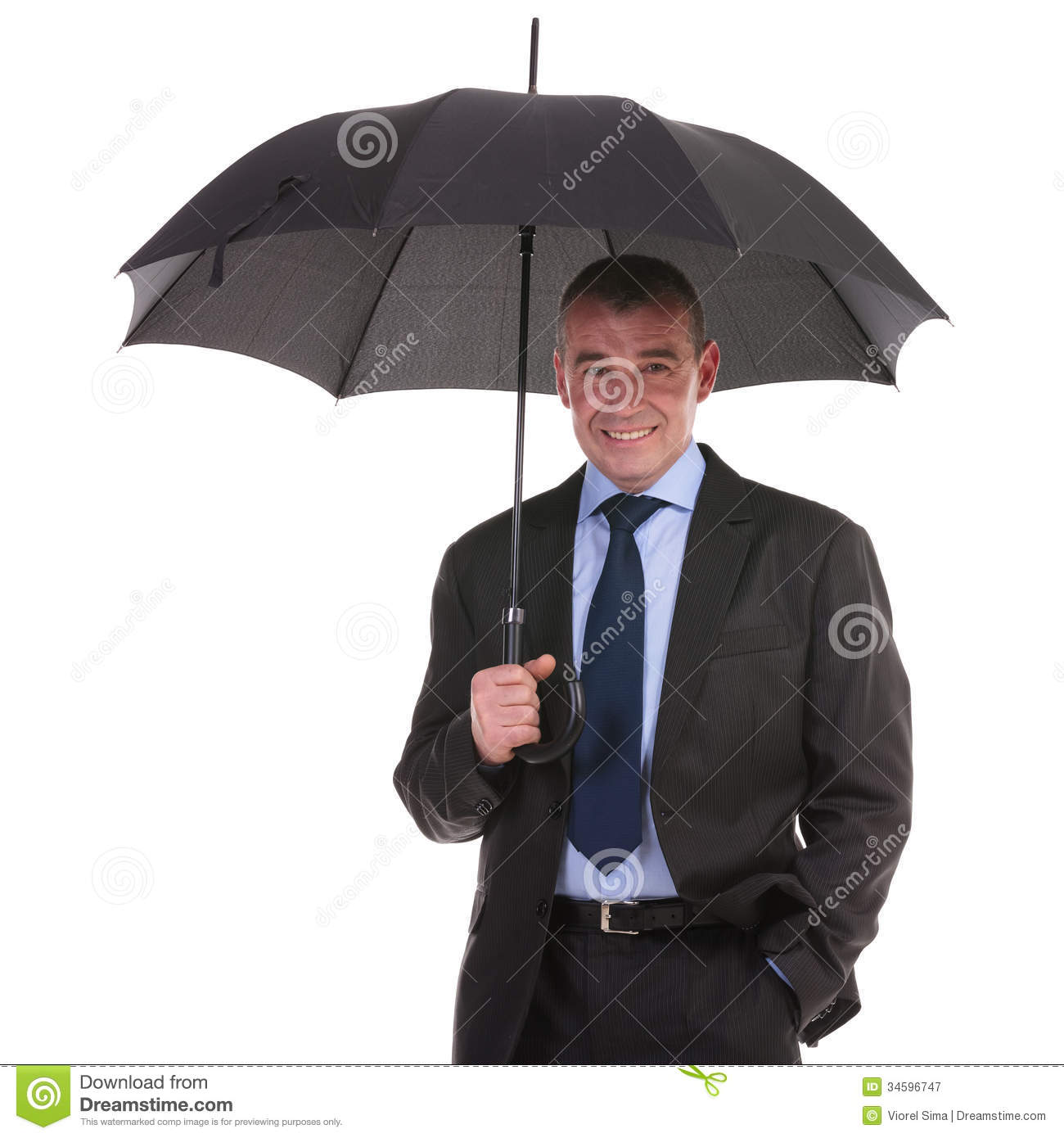 business man stands under umbrella stock image image of suit male