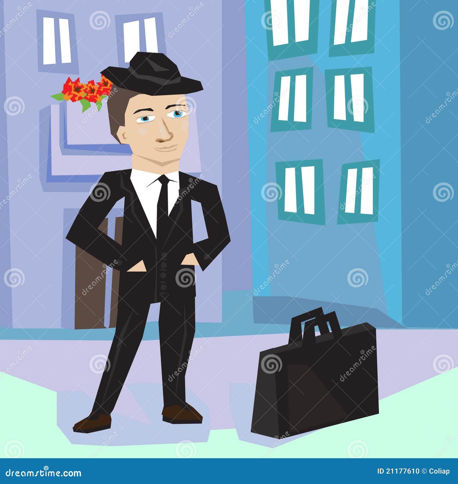 Business man in street