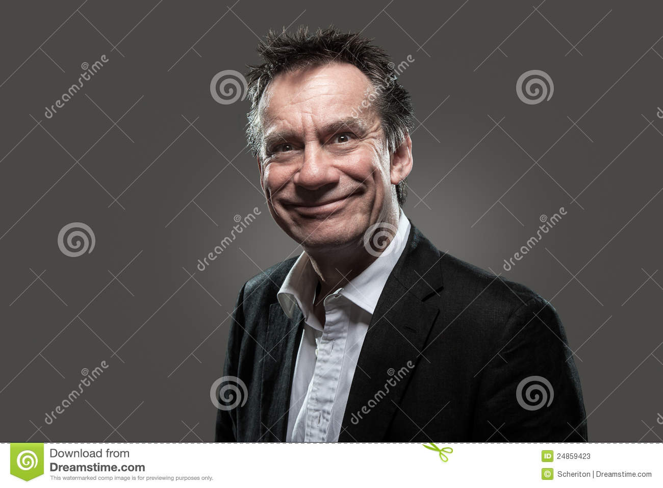 Business Man in Suit with Cheesy Grin High Contras
