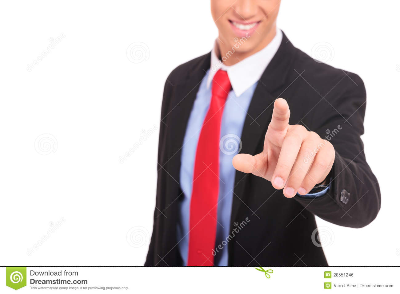 Business man in suit pushing a button