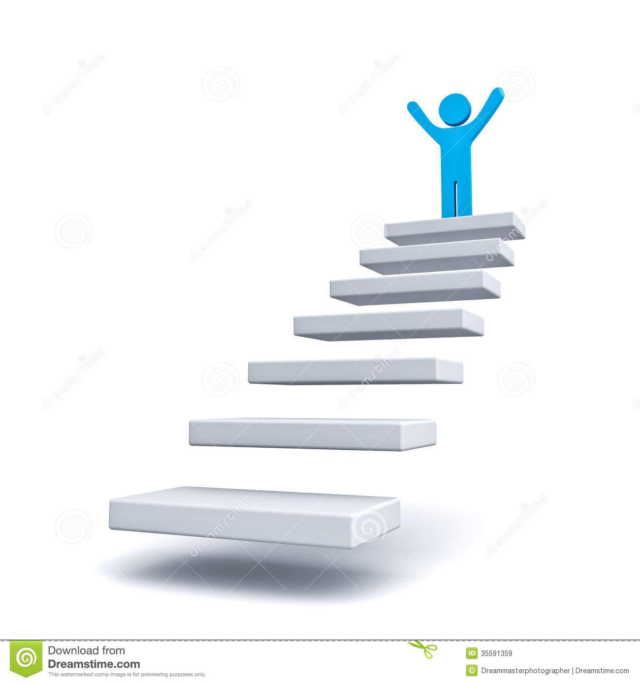 Charmant Business Man On The Top Of Steps Or Stair Over White