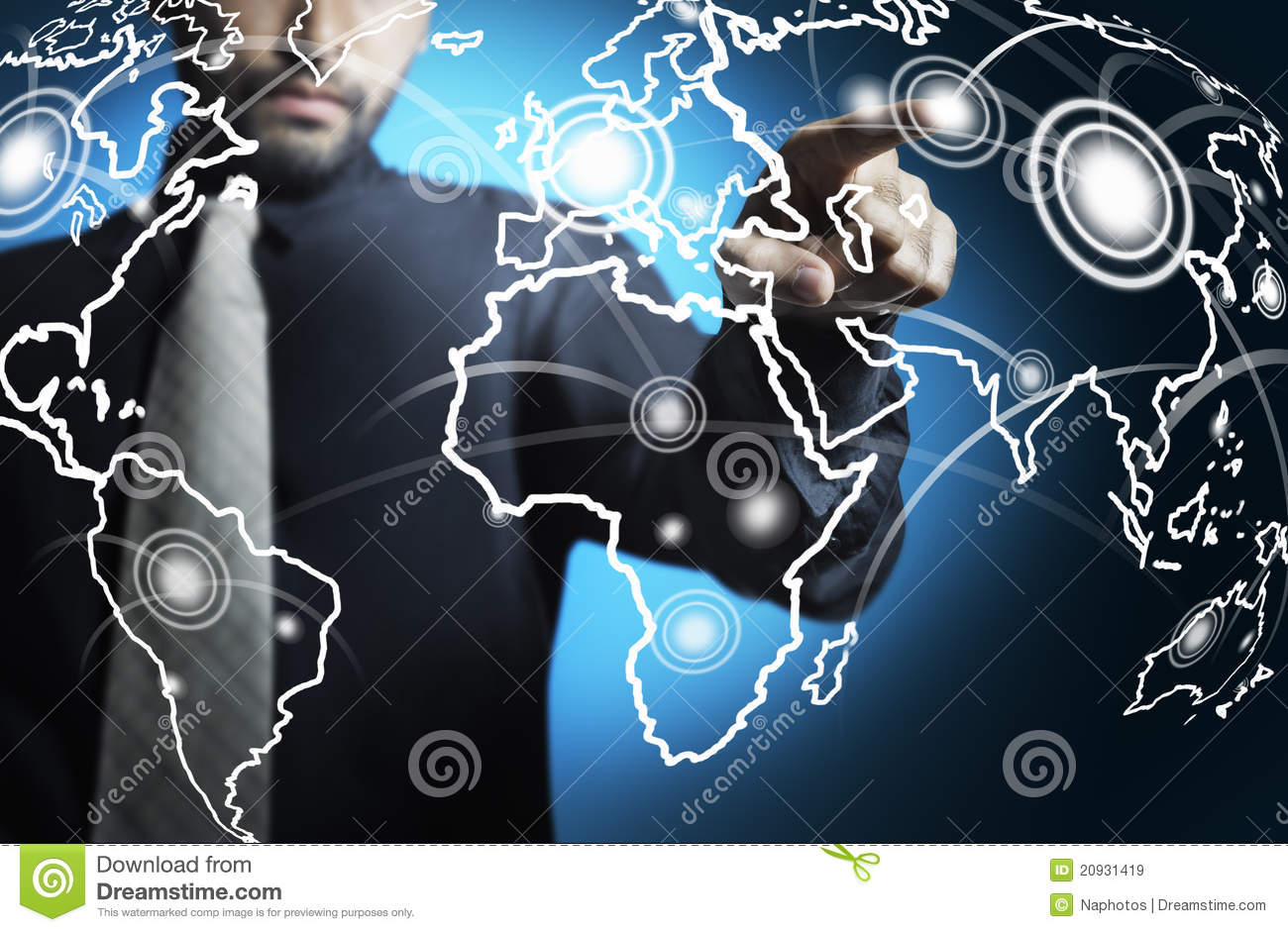 Business Man Touching World Map Digital Screen Royalty Free Stock Images