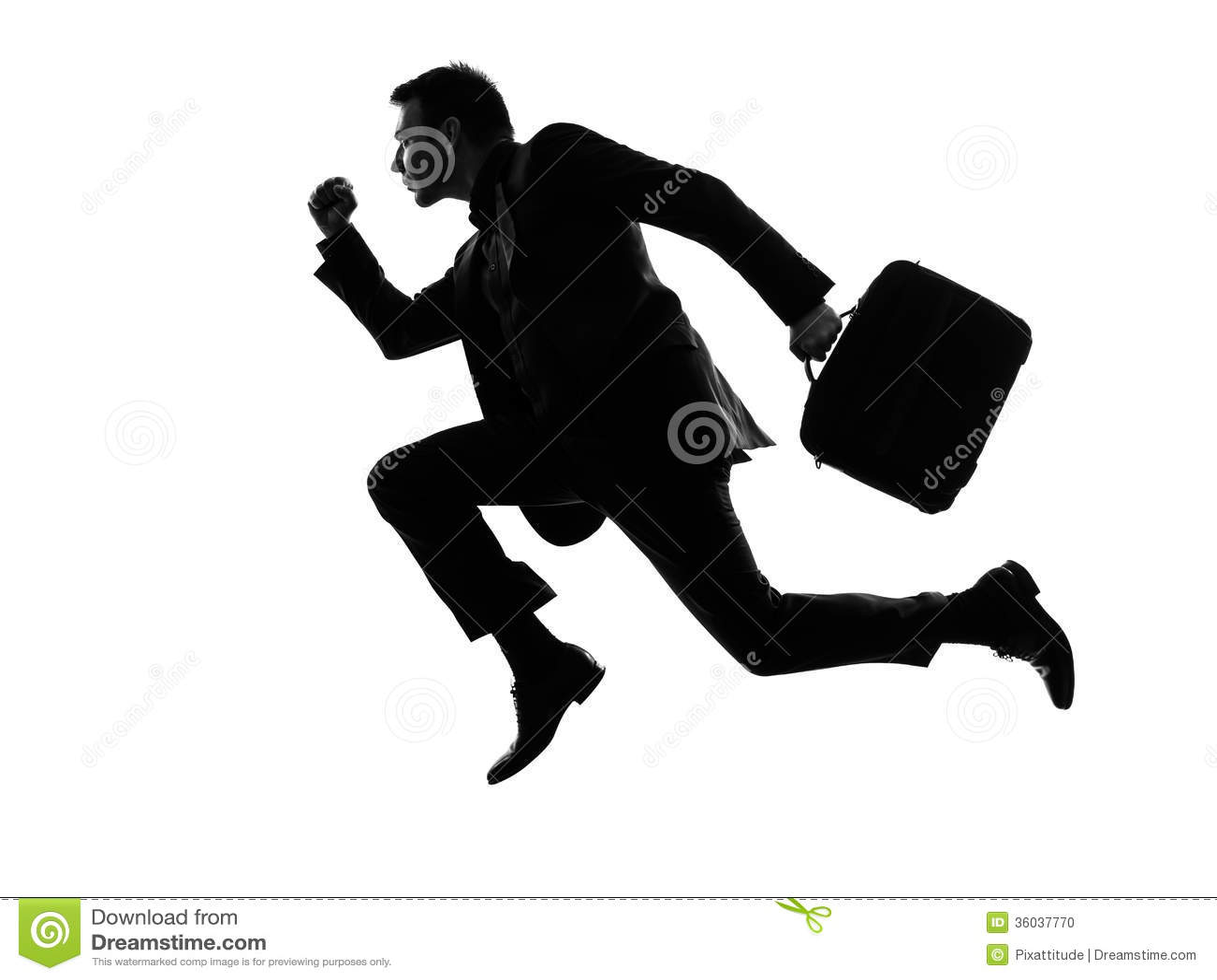 Running Man In Suit Silhouette Business man traveler running