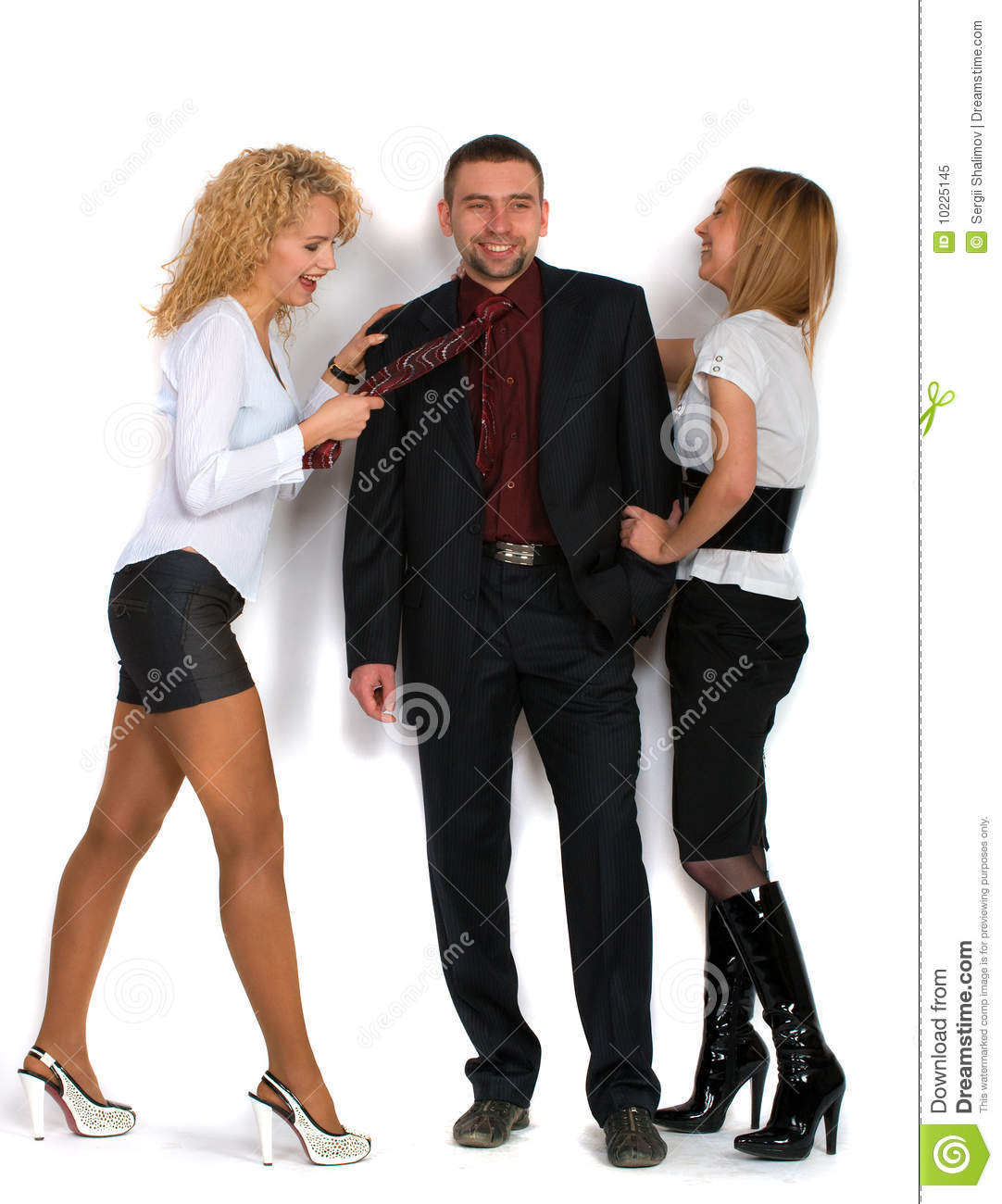 Business Man With Two Girls Stock Image - Image of pretty