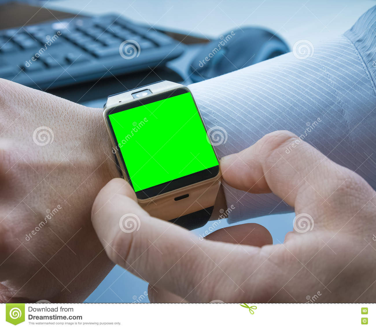 Business Man Using His Smartwatch App With Chroma Key Green