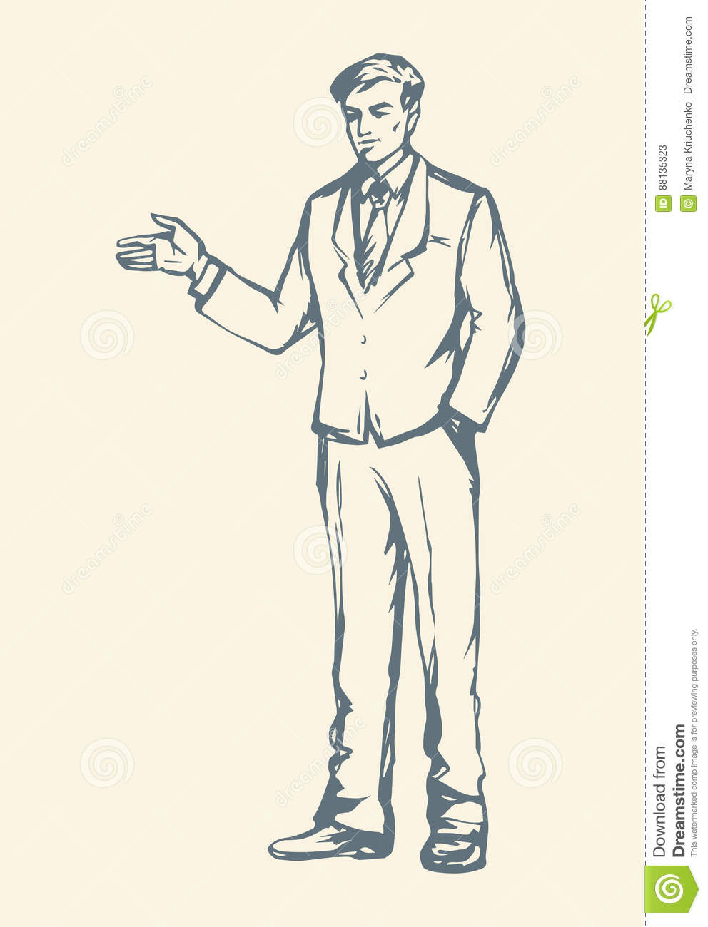 Adult handsome bearded guy person at casual labor isolated on white backdrop freehand outline ink hand drawn picture sketchy in modern art scribble style