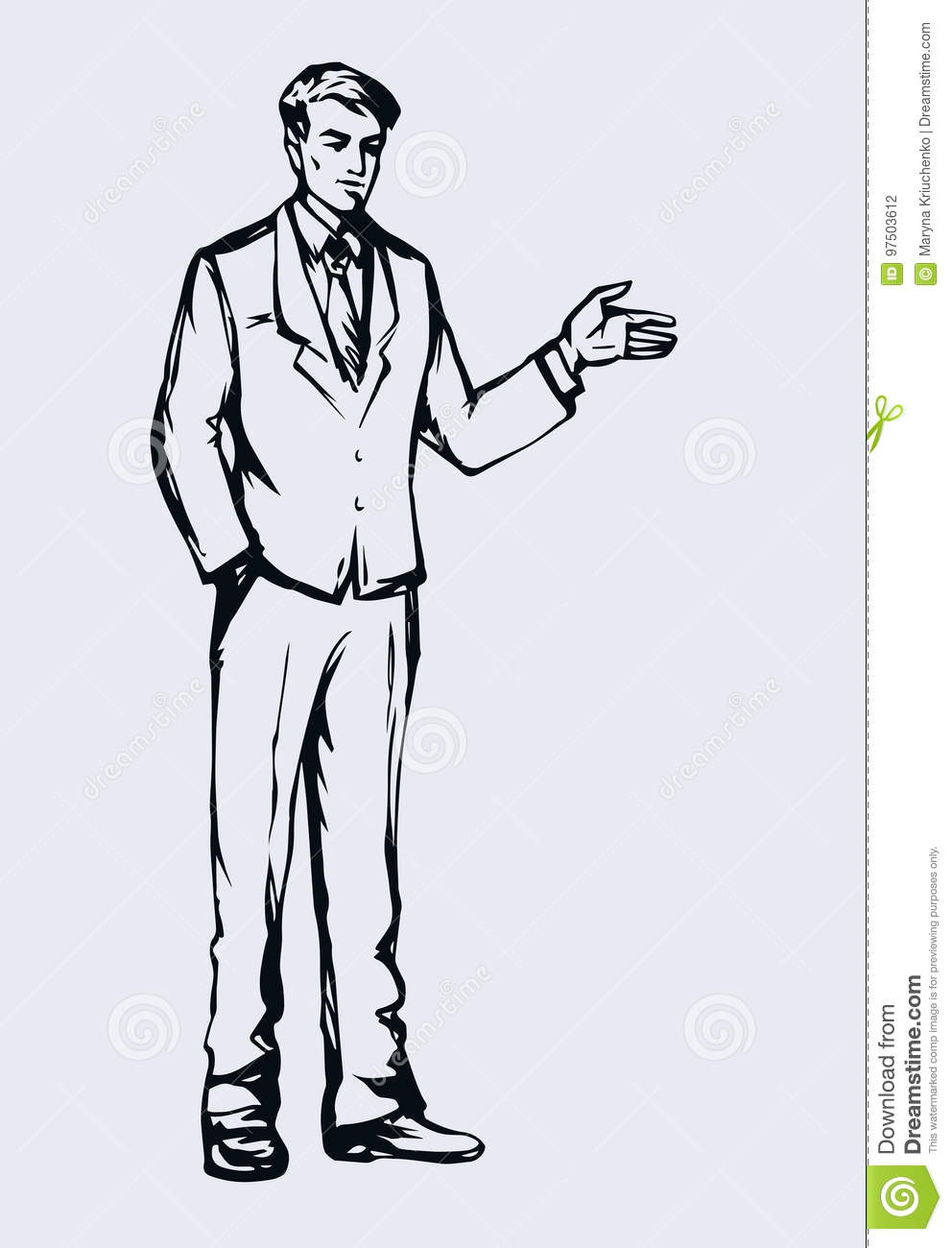business man vector drawing stock vector illustration of graphic