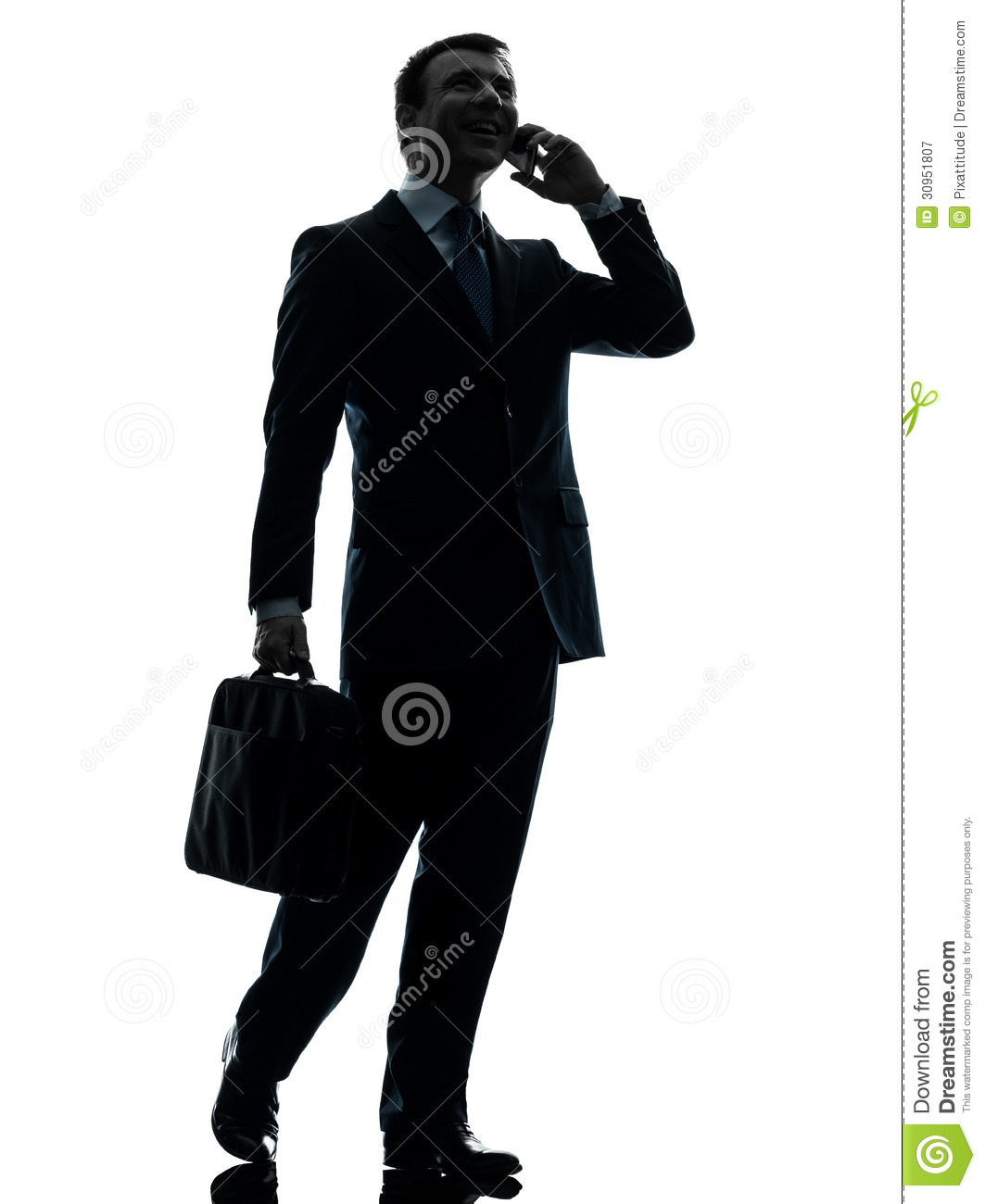 Business Man Walking On The Telephone Silhouette Royalty ...