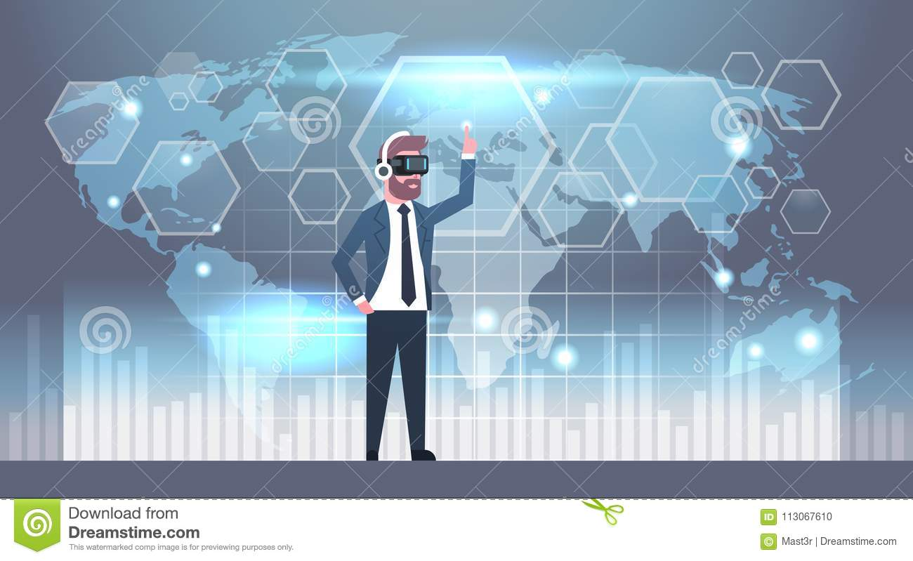 Business man wearing 3d glasses using futuristic user interface with download business man wearing 3d glasses using futuristic user interface with world map background virtual reality gumiabroncs Choice Image