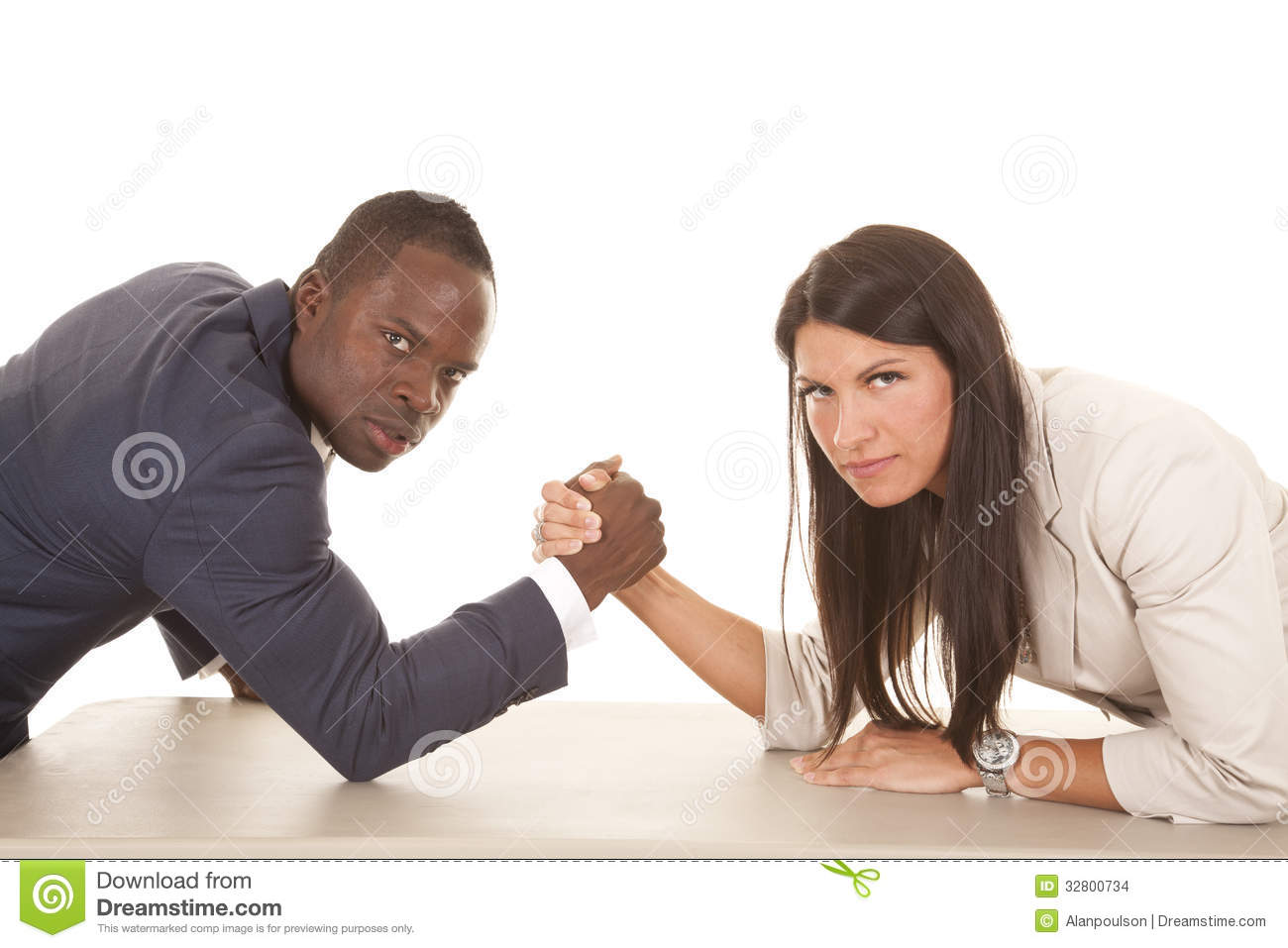 Business Man And Woman Arm Wrestle Serious Looking Stock -1443