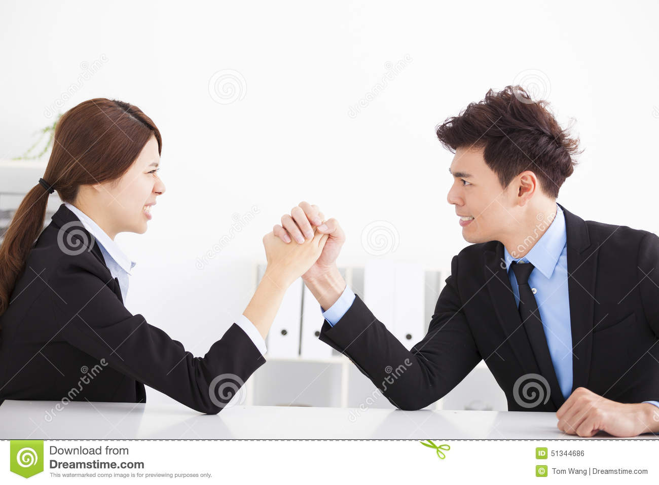 Business Man And Woman Arm Wrestling Stock Photo - Image: 51344686
