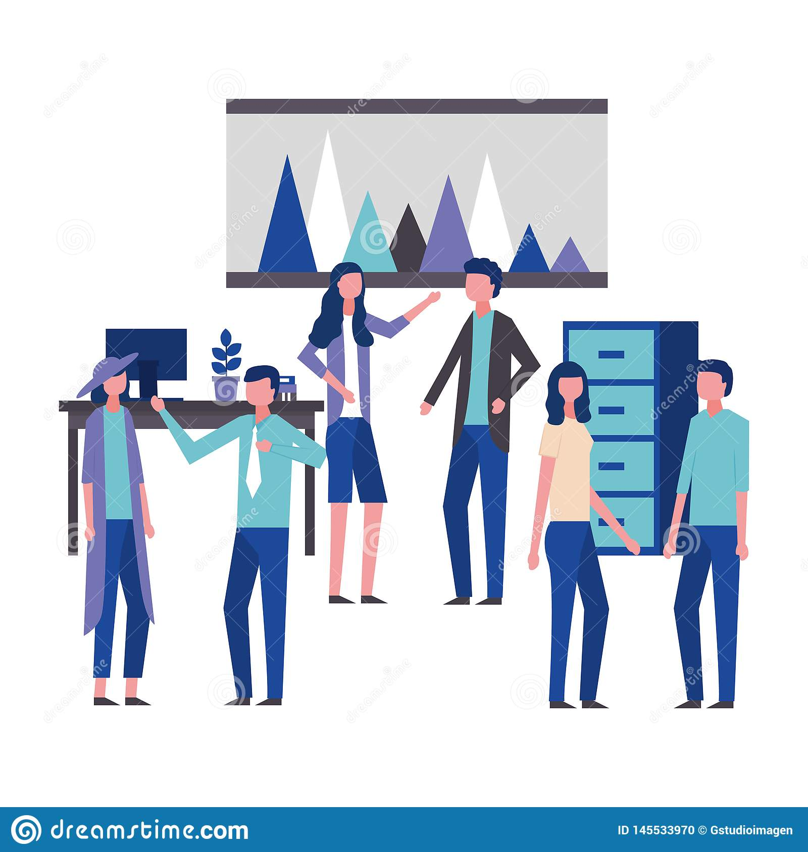 Business Man And Woman Office Workspace Stock Vector ...