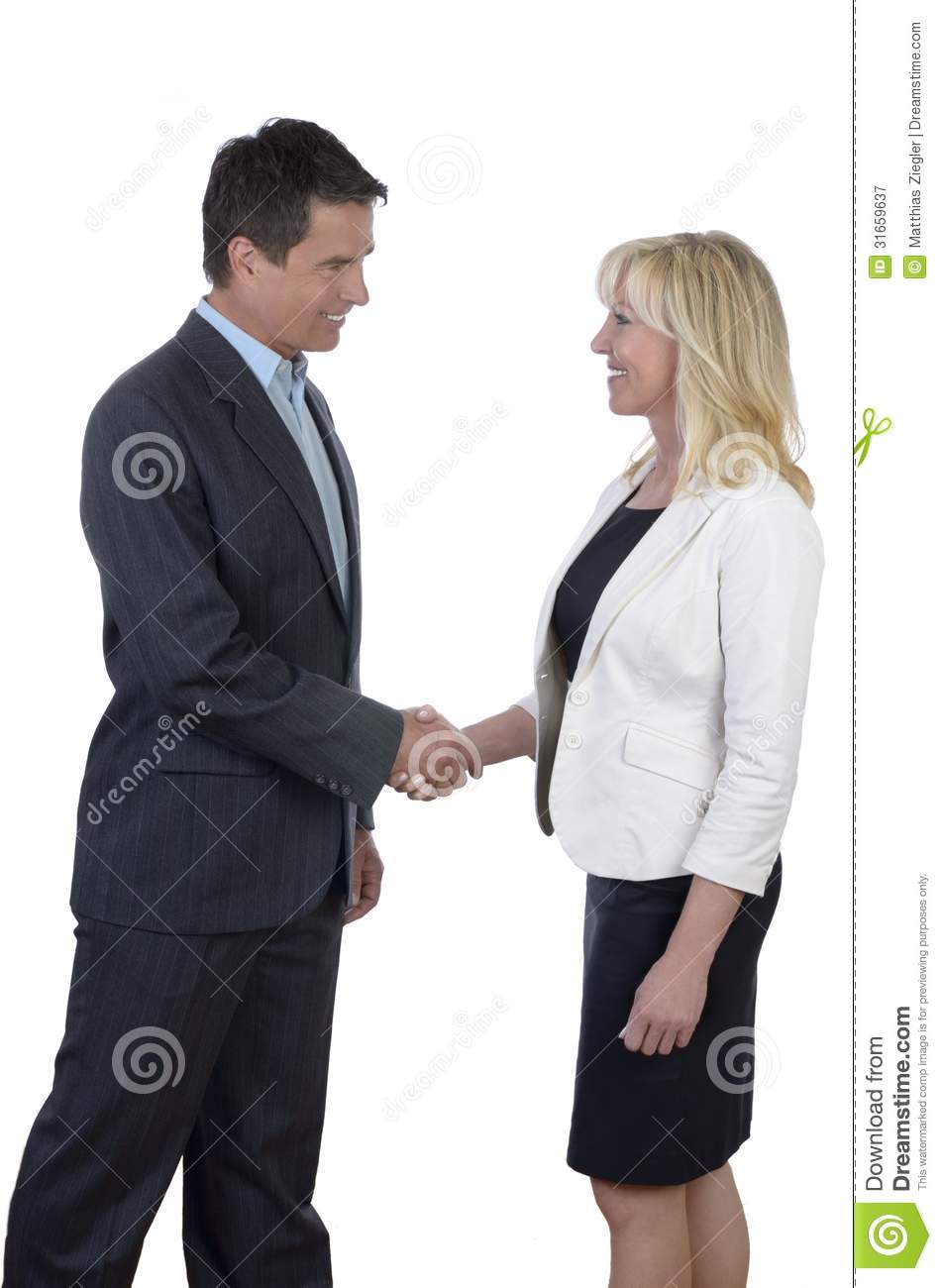 Business Man And Woman Shaking Hands Royalty Free Stock