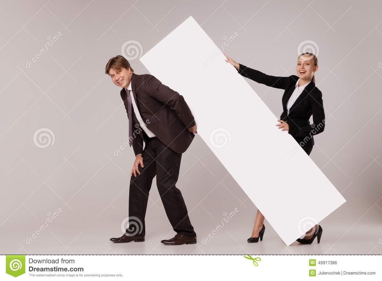 Woman Standing Over Man Business Man And Woman...