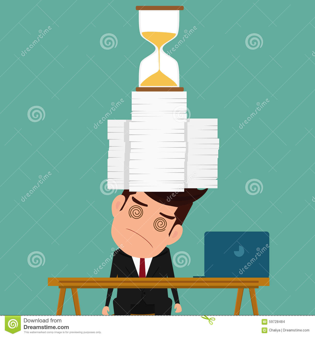 download business man work hard and overload under pressure in urgent deadline stock vector