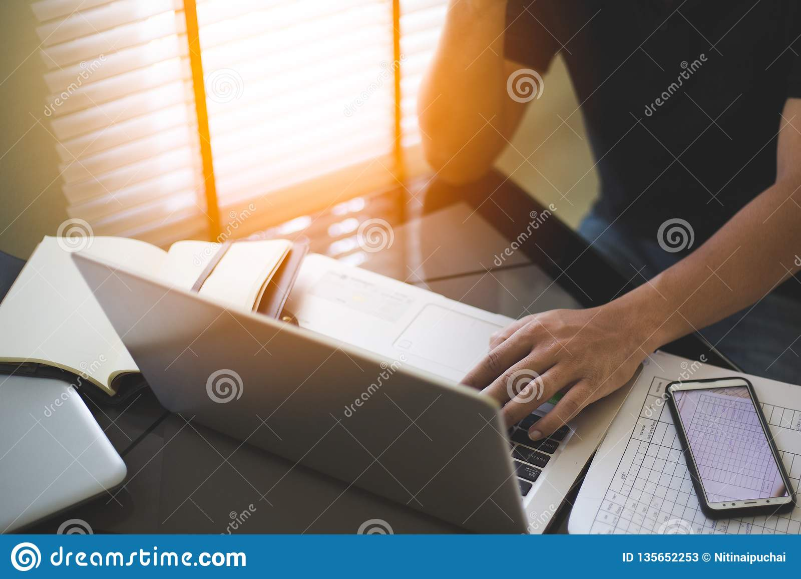Business man working and analysis on laptop