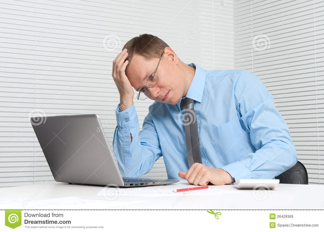 Business Man Working On Computer Royalty Free Stock Images - Image
