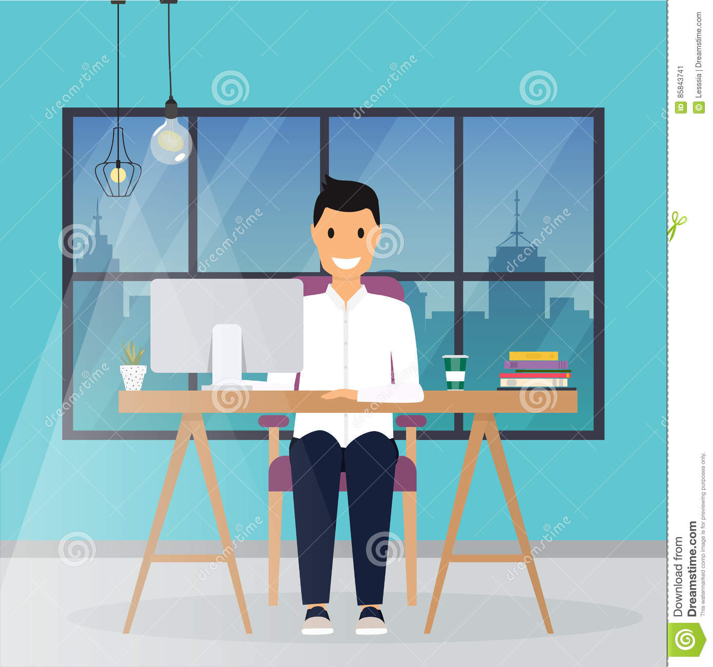 Business Man Working At His Office Desk Flat Design Modern Vector Business Concept Stock Vector Illustration Of Person Desk 85843741