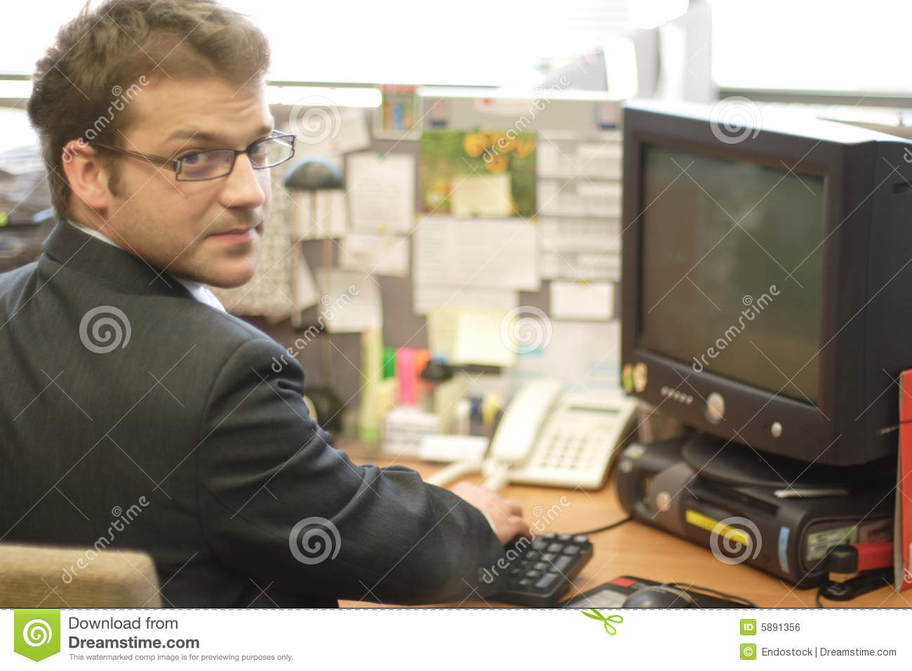Business man and workstation
